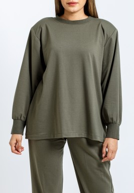 Olive padded shoulder sweater
