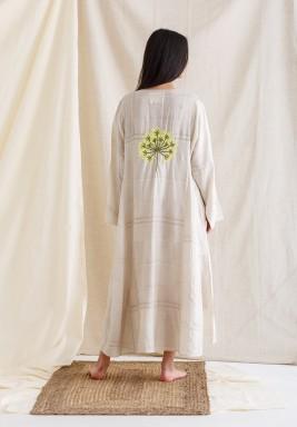Beige Embroidered Back Maxi Kaftan
