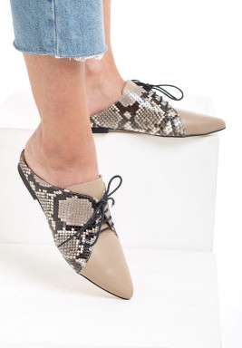 Carol Beige & Python Leather Laced Mules