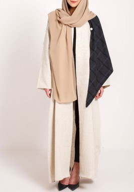 Detachable wool shawl Abaya beige