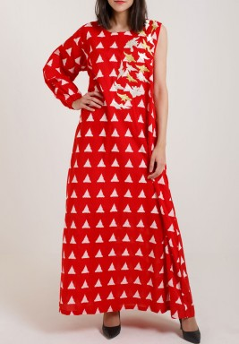 Red One Sleeve Birdy kaftan