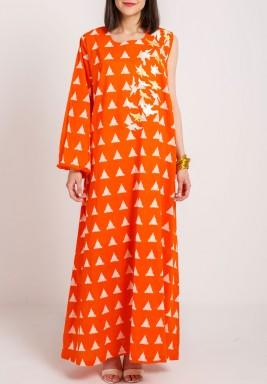 Orange One sleeve Birdy Kaftan