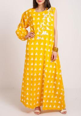 Yellow One sleeve birdy Kaftan