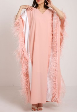 Feather trimmed kaftan