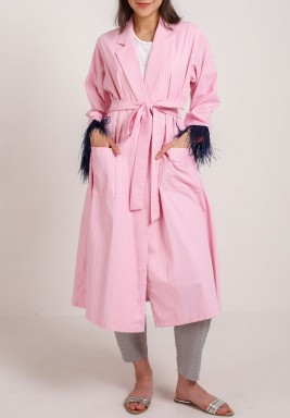 Feather sleeved set Pink