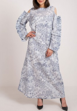 White and Grey Printed Kaftan