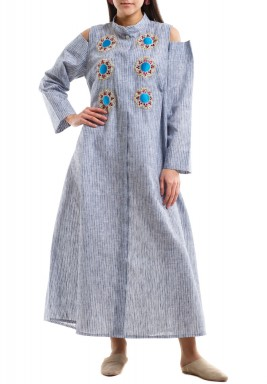 Cold shoulder colorful embroidery striped bisht - brown with blue stripes