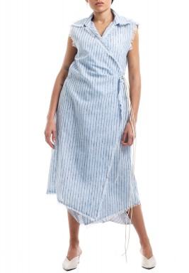 Blue & White Striped Midi Set