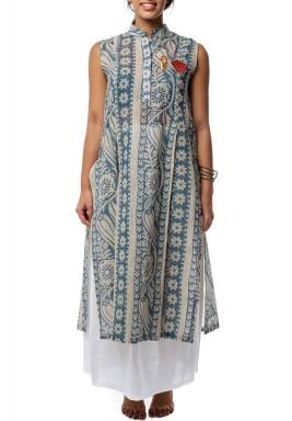 Striped Modern Floral Dress