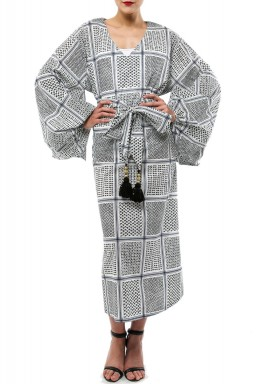 Shemagh belted kaftan Black And White