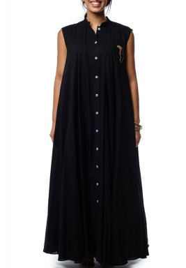 Cotton layers black Dress