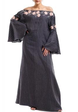 Emb floral off shoulder dress
