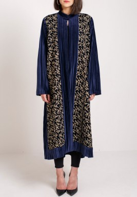 Sole Mate Navy Embroidered Bisht