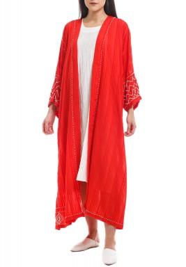 Red Embellished Open-Front Bisht