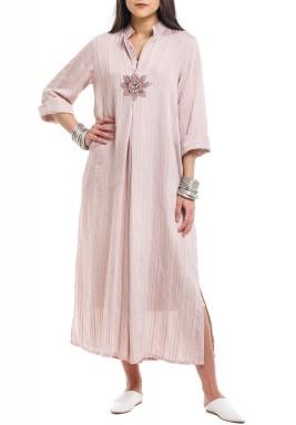 Dusty Pink Eye Embroidered Kaftan-Preorder