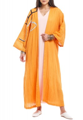 Orange One Side Embroidery Bisht