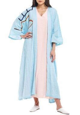 Blue One Side Embroidery Bisht