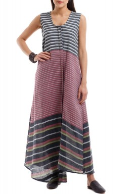Multicolored Striped Sleeveless Dress