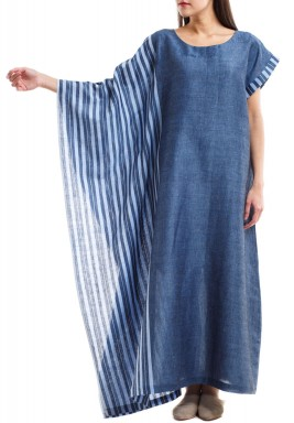 Blue Striped Wide Sleeve Dress
