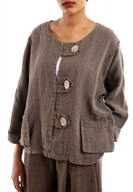 Buttons short jacket brown