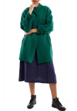 Pleated trimline jacket sea green