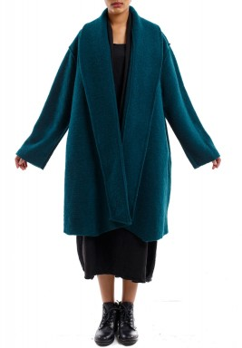 Drape collar coat pine green