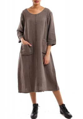 Pocketed pleated dress brown