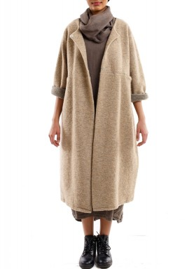 Smooth cut long jacket beige