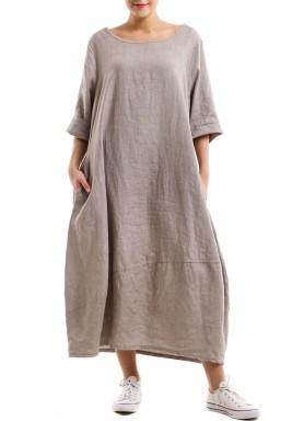 Linen Comfy pleated dress - Beige