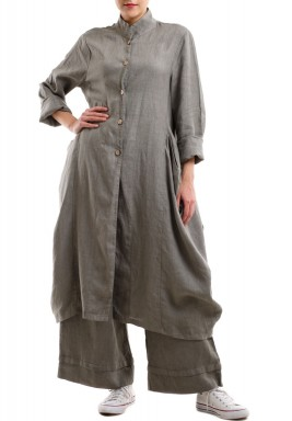 Linen long buttoned jacket - Khaki