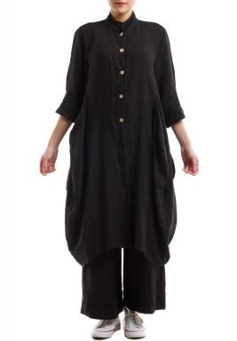 Linen long buttoned jacket - Black