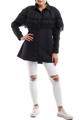 Flowy shirt with lace - Black
