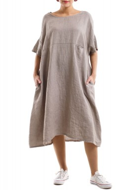 Square cut breezy linen dress - Beige