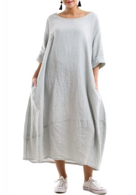 Linen Comfy pleated dress - Light green