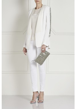 Mehrian White Crystal Long Sleeves Blazer