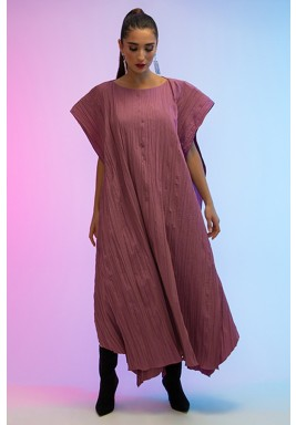 Pink Maxi Pleated Flowy Poncho