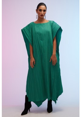 Green Maxi Pleated Flowy Poncho