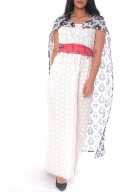 Acacia White Patterned Belted Kaftan