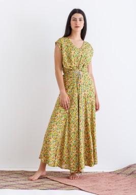 Yellow Floral Sleeveless Kaftan