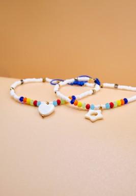 BL White Beaded Rainbow Anklet Heart