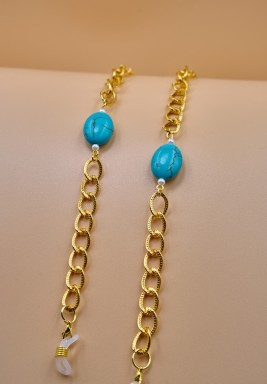 BL Golden Eyeglasses Chain decorated with a Blue Stone and White Pearls