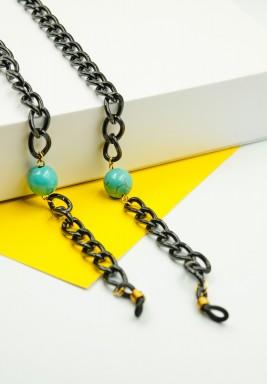 BL Turquoise Bead Black Eyeglasses Chain