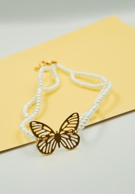 BL Small Size White Pearls Choker Necklace with a Gold Plated Butterfly