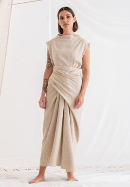 Beige Wizar Warp Skirt