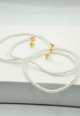 BL White Pearls Beaded Eyeglasses Chain