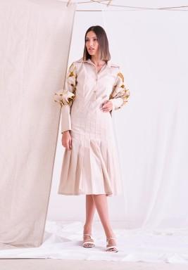 Beige Floral Sleeve Dress
