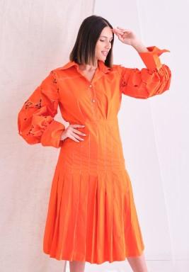 Orange Floral Sleeves Dress