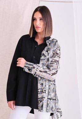 Black Pattern Scarf Shirt