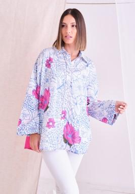 Fuchsia Floral Long Sleeves Shirt