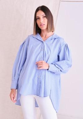 Blue Hoody Striped Shirt